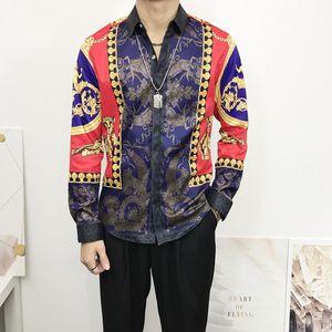 Designer Slim Fit Shirts Medusa Men ss =1919 3D Gold Floral Print Mens Dress Shirts Long Sleeved Business Casual Shirts Males Clothes