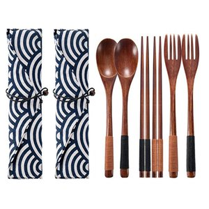 2 Set Wooden Flatware Tableware Cutlery Set Travel Utensils Tied Line Reusable Flatware Wooden Fork Spoon Chopsticks