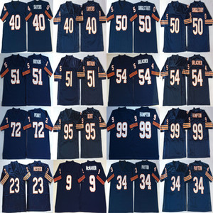 NCAA Devin Hester Jersey Jim McMahon Walter Payton Gale Sayers Mike Singletary Dick Butkus Bleu Retro Football Maillots Cousu Hommes