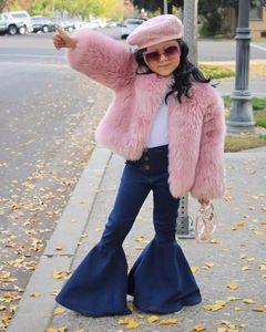 الطفل أزياء الفتيات جان طفل أطفال رضع مضيئة السراويل الجينز الملابس شرابة الجينز السراويل الجينز KAWAII للأطفال الفتيات conjunto INFANTIL B424