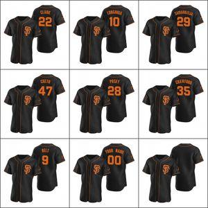 San FranciscoGiants 28 Buster Posey 22 Will Clark 10 Evan Longoria Men Women Youth Custom Black Alternate 2020 Authentic Jersey