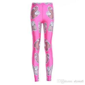 Elastic Casual Pants 3D Digital Printing Rose red bottom sheep Pattern Women Leggings 7 sizes Fitness Clothing Free Shipping