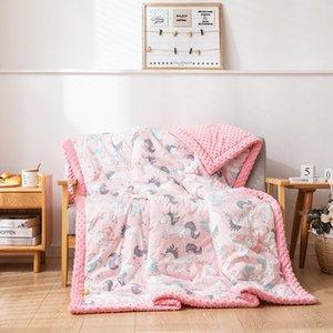 Cartoon Unicorn Pink Cotton Blanket Double Layer Minky Dot Comfortable Velvet Baby Spring Swaddle Four-Season Multifunctional
