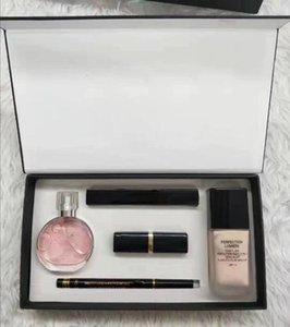 Marchio trucco Set 15ml profumo rossetto Eyeliner Mascara Highlighers Foundation 5 in 1 3 in 1 con la scatola Lips Cosmetics Kit Drop Shipping