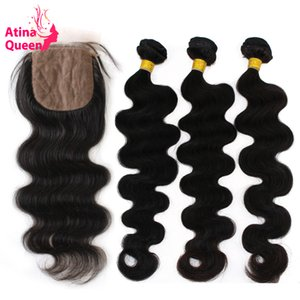 Silk Base Closure with Bundles Peruvian Body Wave Virgin Hair Lace Closure with Bundles Atina Queen Hair Products 100 Human Hair