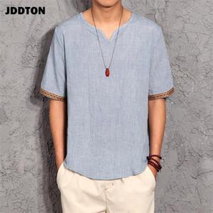 Lino fino adelgaza las camisetas de los nuevos hombres JDDTON estilo chino de la manga corta respirable cómodo camiseta Casual Male Streetwear JE099