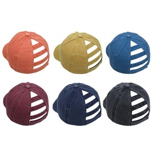 Ponytail Hat Breathable Washzble Adjustable Solid Color Snapback Cotton Summer Unisex Hats Casual Outdoor Sports Baseball Buns Cap LJJP96