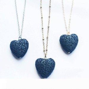 New Heart-shaped Lava-stone Aromatherapy Essential Oil Diffuser Pendant Necklaces Natural Lava Pendant Necklace Fine Jewelry