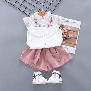 Baby Kid Girls 2 Pcs Clothes Set Floral Pattern Sleeveless T shirt Shorts Outfits Summer Costumes B032