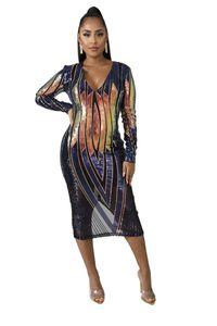 Sexy Paillettes Designer Femmes Robes Casual manches longues col en V Femmes Mode Robes moulante printemps Robe rayée