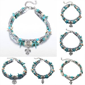 bohemian Turquoise Anklets bracelets Retro Elephant turtle starfish tree life owl heart beach foot chain Ladies Jewelry