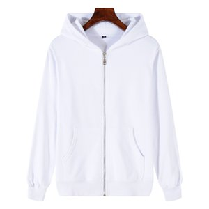iSurvivor2020 Spring and autumn new wholesale outdoor leisure sports terry solid color zipper cardigan hooded sweater coat