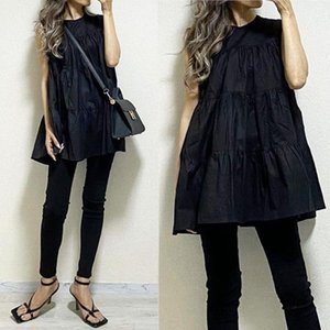 BLack Blouse Women Sleeveless Loose Casual Blouses Pullover Pleated Summer Korean Tops Solid Fashion Streetwear Lady Blouse
