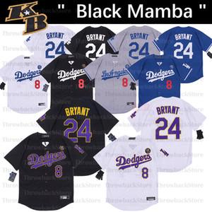Los Angeles Black Mamba Baseball Jersey Bryant Aniversário número 8 24 Jerseys Preto Branco Azul Amarelo Cinzento
