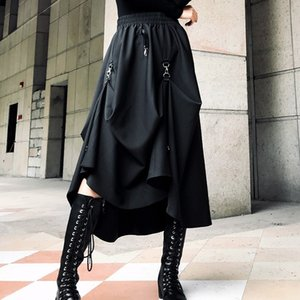 LANMREM 2020 Spring Fashion New irregular ring cross two wear black women's skirt Elastic High Waist All-match bottoms YF970 T200712