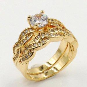 Rulalei Retro Moda Takı 18kt Altın Dolgu Yuvarlak Kesim Beyaz Şeffaf 5A Taşlı Gelin Yüzük Eternity Düğün Çift Yüzük 5QYZ #