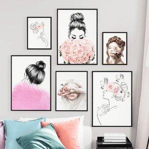 Wall Art Toile peinture Ligne Drewing fille fleur papillon Minimalisme Affiches nordiques et les copies mur photos pour Living Room
