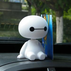 10pcs / серия трясущейся головой робота куклы автомобиля орнамент Симпатичные украшения для автомобилей Интерьер Панель Bobble Head Игрушка аксессуары ze2H #