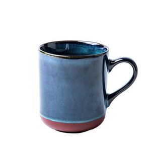 Retro Blue Ceramic Coffee Mug 600ml Large Capacity Coffee Cup Simple Thicken Creative Hot Water Cup Milk Breakfast Cup For Kids T200506