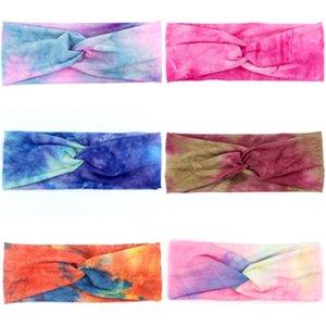 Las vendas para mujer headwraps Tie Dye turbante Hairbands accesorios del pelo de la venda de Ejecución de Deportes HairBand 6 estilos KKA7987