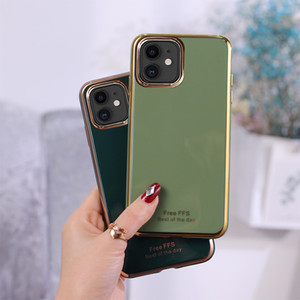 Placage silicone cas de téléphone pour Iphone 11 Pro Max X XS XR 8 7 plus Couverture arrière