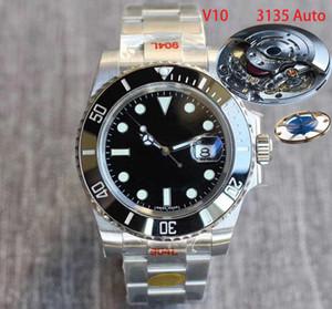 N usine ETA 3135 V10 Montre Homme noir saphir étanche en céramique lumineux 100M 116610 modèle 904L sport en acier inoxydable bleu à l'intérieur des montres