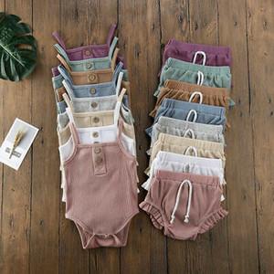Ragazze dei vestiti del ragazzo insieme del cotone 2PCS bambino appena nato senza maniche della tuta + Shorts Ruffle Outfits Solid maniche canotta