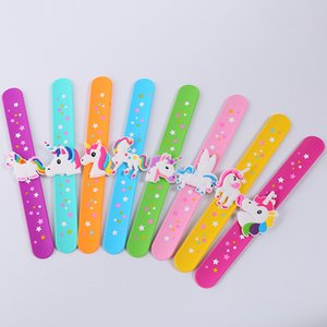 Unicorn Slap Snap Wrap Wristband Bracelet Hand Ring Silicone Wristband Kids Toy Birthday Party Favors WB2399