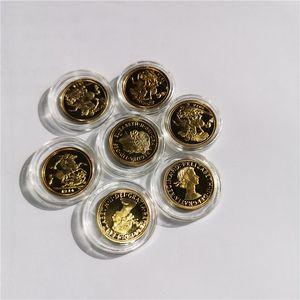 UK 24k altın kaplama PARASI 22 * 1.8mm nakliye 1914 1963 2015 İNGİLİZ TAM EGEMEN 22ct ALTIN MADENİ PARA KING GEORGE V 5 altın sikke, 10pcs / lot Ücretsiz