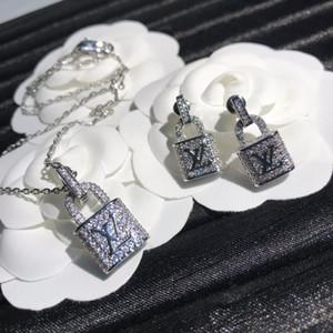 حار بيع جديدة عالية نهاية قفل مخصص كامل الماس قلادة قلادة مجموعة مجوهرات الأزياء الأقراط العصرية البرية