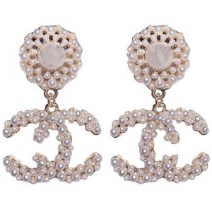 hot sale fashion new designer jewelry designer hoop earrings women wedding earrings white pearl big earing flower earring