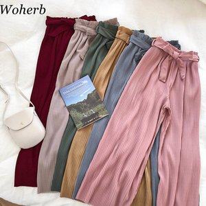 Woherb Корейский осень широкие ноги брюки женские повседневные высокие талия с ремнем лук Новые плиссированные брюки брюки FEMME 21057 201103