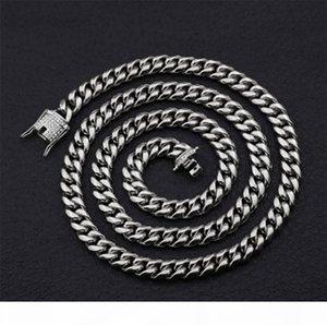 K Top Quality Arrefecer Mens Colar de Ouro Tom aço inoxidável 316L Miami Cuba Chain Link Com Diamante Fecho de bloqueio 10 milímetros Largura 75 cm de comprimento