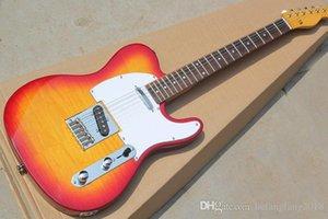 Özel fabrika indirim fiyat kırmızı ve beyaz Pickguard, bej kaplama / boyun, sarı elektrik gitar ölçekler gül ağacı, özelleştirilmiş discoun