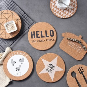 4pcs Set Cork Wood Round Placemats Thick Pots  Bowls Hold Pad Anti-Skip Heat Insulated Mats Modern Style Tableware Cup Coasters T200703