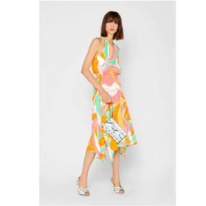 summer Luxury Brands Designer Beach Dress Women's Colorful Geometry Print XXL Stretch Jersey Silk Spandex Maxi Dress