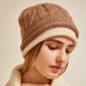 Kış Kadın Cashmere Şapka Sahte İki parçalı Sıcak Cap Twisted Örme Cap Kış Outdoor çift taraflı