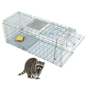 Humane Animal Trap 32x12x12 Steel Cage Live Rodent Control Skunk Rabbit Opossum