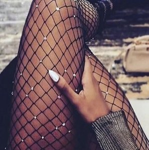 Cristales medias de red Inicio de las mujeres atractivas de la media de las mujeres del diamante del cuerpo neto Mallas Medias patrón pantimedias medias de las medias del calcetín del Rhinestone