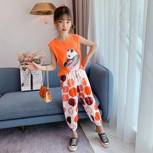 uGDzd девочек летний костюм 2020 новый Корейский стиль детский спортивный большой детский интернет знаменитость двухсекционный костюм Способный девочек мода лето