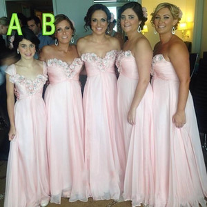 New A Line CHiffon Bridesmaid Dresses with Handmade Flowers Sweetheart Wedding Guest Dress Plus Size Long Maid of Honor Gowns