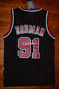 Encargo barato nuevo # 91 Dennis Rodman para hombre de la tela a rayas 95-96 Rojo Jersey Retro XS-6XL cosido jerseys de baloncesto de la NCAA
