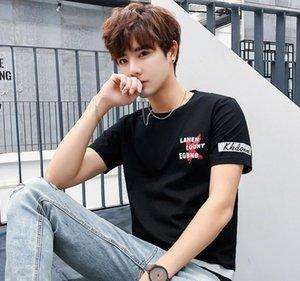 Pop2019 T T-shirt Slim puro algodão de manga curta Juventude Cool Time coreano tendência Rodada T-shirt Neck A. Usar Jacket Men s