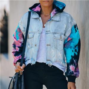 Tie Boyalı Jean Kadınlar Ceketler Moda Sokak Stili Kontrast Renk Coats 20FW Yeni Kadın Kabanlar Ripped