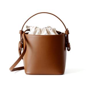 Abera New Vintage Leather Women Shoulder Bag Fashion Brand Design Bucket Bags Lady Handbag Trendy Female Drawstring Tote Crossbody Bag