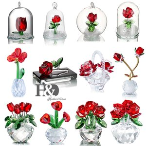 H&D Crystal Red Rose Figurines Bouquet Flowers Collectible Art Glass Craft Home Wedding Decor Ornament Christmas Gift Souvenir T200710