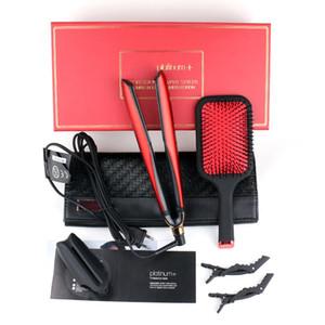 أداة PLATINUM + تنعيم الشعر مجموعات فرشاة الشعر المهنية الطراز شقة فرد تصفيف الشعر حمراء اللون ذات نوعية جيدة