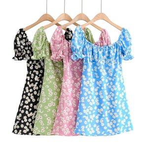 Estilo Vestidos Praia BRADELY MICHELLE 2020 Mulheres Moda do Verão de manga curta Praça de impressão Collar mini vestido Feminino