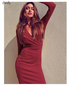Sexy Autumn Dress Women Empire V Neck Sheath Long Sleeve Knee Length Bodycon Dresses Plus Size Woman Party Mujer Designer Clothes