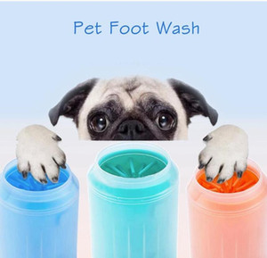 Pet Paw Washer Cat Dog Foot Clean Cup Plastic Washing Brush Quickly Wash Foot Bucket Soft Silicone Grooming Brush Dog Foot Washer DHA339